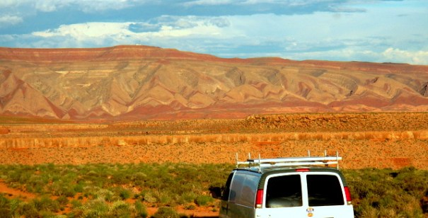 If I put the van in gear and let it go, it would come to the edge of the canyon and drop nearly straight down to the San Juan River below. I think I'll NOT do that!