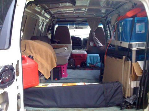 The van from the back door.