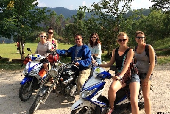 My Moped Gang.  2 women from Sweden, me from US, 1 woman from Thailand, 1 woman from Germany and 1 woman from Belgium.  Riding from Chiang Mai Thailand to Pai Thailand and back.  180 mile round trip.  October 2014