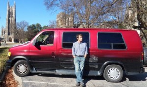 The author and his van on campus.