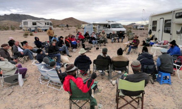 The Tribe sharing in a seminar at the Rubber Tramp Rendezvous.