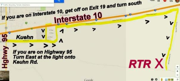 This is a map to the RTR campsite in Quartzsite. If you look closely you'll see all you ever have to do is walk north and you'll come to Interstate 10 or walk east and you'll come to Highway 95. Even if you don't know where you are, you know by walking to either of those directions you'll come to help.