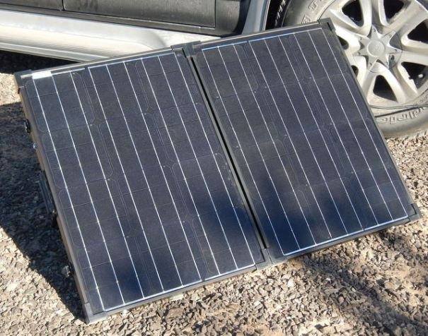 The Renogy 100 watt folding solar panel is light, easy to handle and very easy to set-up.  It's a true plug-n-play system.