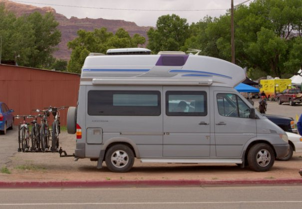 This Airstream based on Sprinter was very impressive. Notice all the mountain bikes, Moab is an international Mecca for mountain bikers.