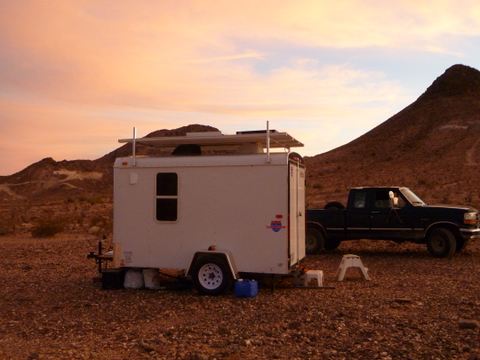 The trailer in the desert after the conversion.