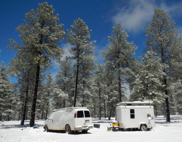 Even snowbirds can't avoid cold and snow.  I took this photo in April in Flagstaff, AZ. The desert was over 100 degrees so I had to move up to ahigher elevation. But there I ran into cold. Stuff happens!