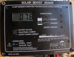 """This is my solar controller. It has a digital readout and I have it set here to show how much """"money"""" (amps) is coming out of the panel. Right now it is 7.8 """"dollars."""""""