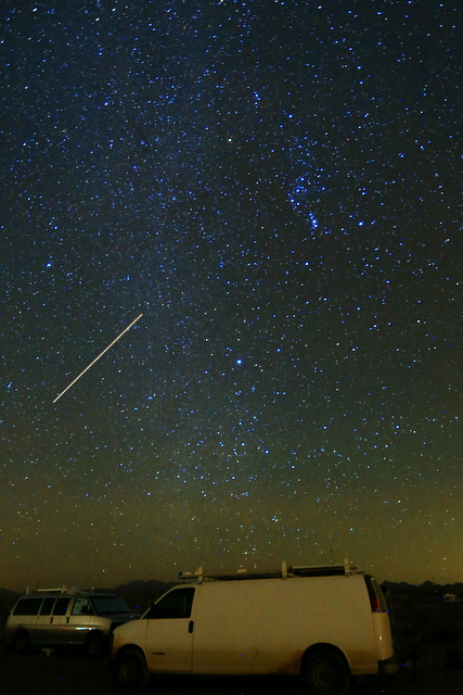 A meteor I captured at my Ehrenberg camp. It too has a lot of light polution. I didn't paint the van at all, that's from the lights of Blythe. The glow at the bottom is from Yuma, 100 miles away.