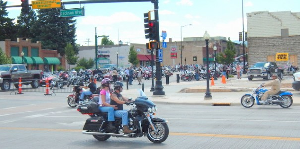Every parking lot in Spearfish was packed with Harley's!