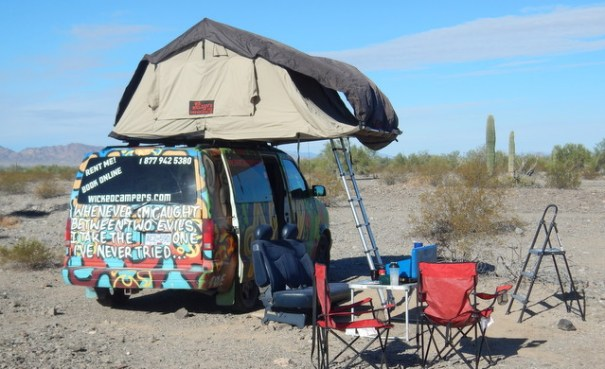 The rental van and its roof-top tent. Every pece of campig gear you see in these pictures came with the van as part of the rental price.