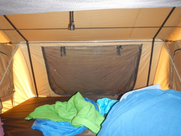 The tent is very large and comfortable. Except for in the very worst weather you could sleep well here.