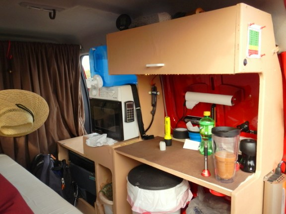 This is the cabinet Randy built. You can see it meets all the basic needs for a home: cooking, cleaning, refrigeration, storage and a bathroom.