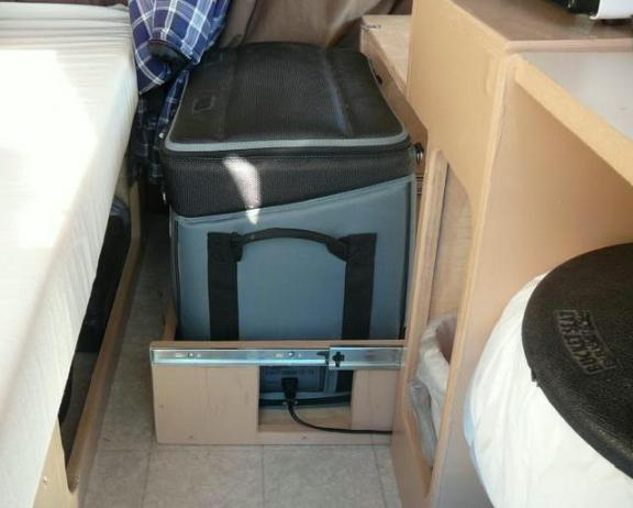 In this shot you can see the fridge pulled out on it's drawer slides.