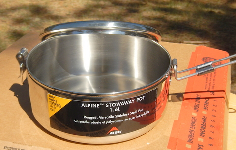 Here you see the pot open and the handle flipped over. It's a high quality stainless steel and the perfect size for us!