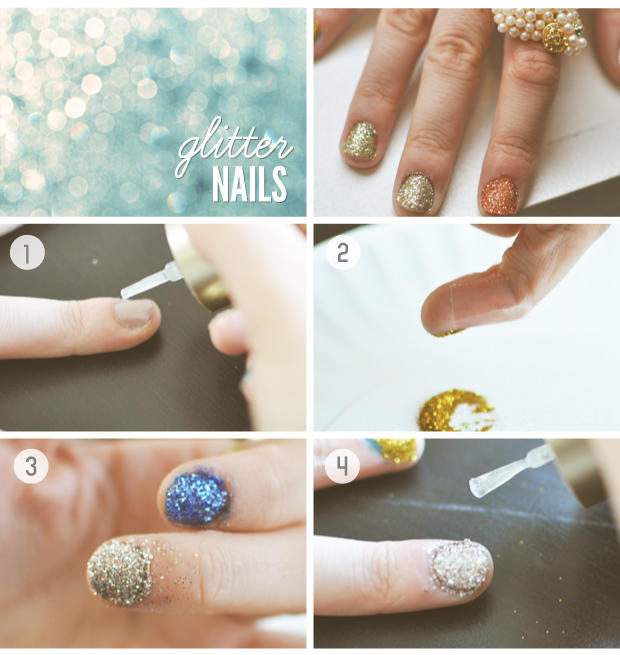 Nail Art Tutorial How To Create A Glitter Grant Using Cotton Bud