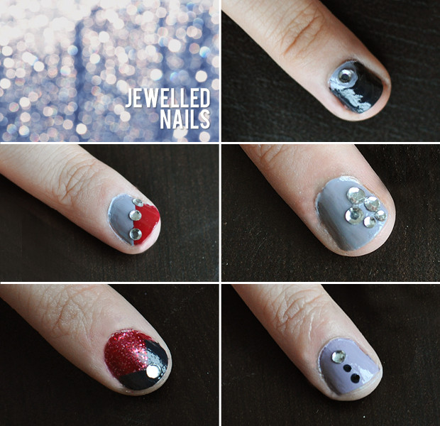 From Top Right Look 1 Using The Half Moon Manicure Method Create A Little Crescent At Of Your Nail In Middle Add Rhinestone For An