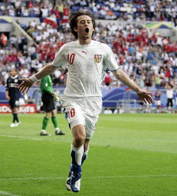 Tomas Rosicky after scoring for the Czech Republic against the United States at the 2006 FIFA World Cup