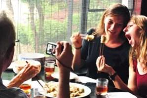 Enjoying Chinese cuisine