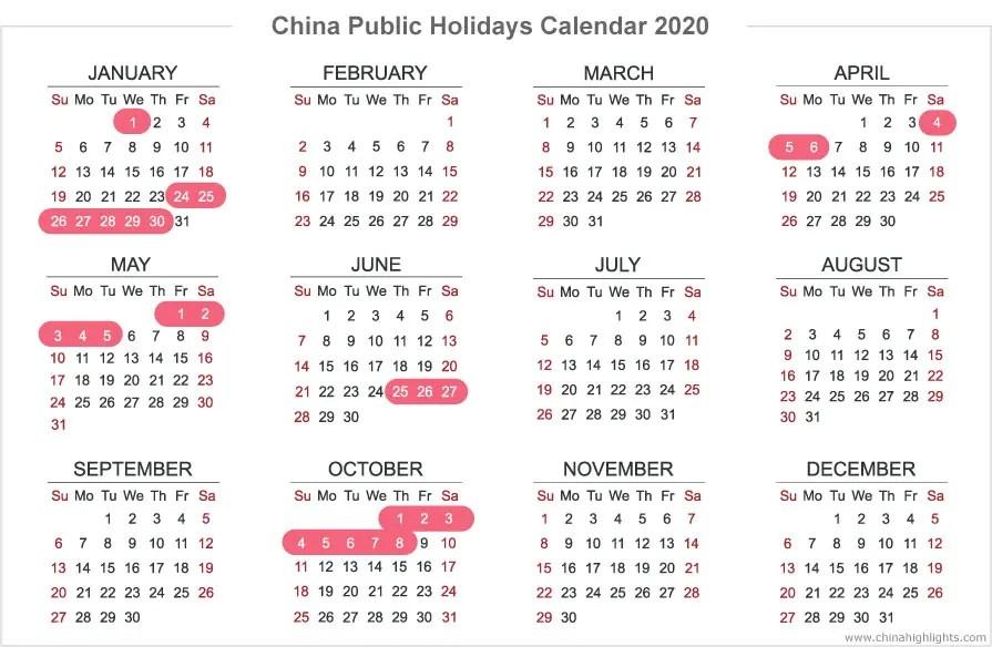 China Holidays Public Holidays Calendar In 2020 2021 2022