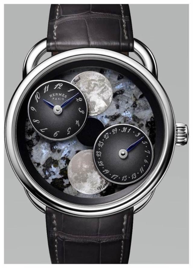 愛馬仕Arceau L'heure de la lune 月讀時光腕表,藍色珍珠石表盤,112萬元。(HERMES提供)