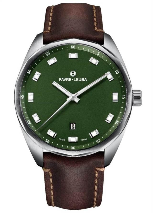 域峰表Sky Chief Date綠色表盤腕表,狂野中流露紳士品味,精鋼表帶款6萬5000元。(Favre-Leuba提供)