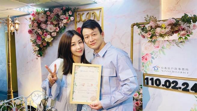 導演于中中(右)和女星安唯綾日前登記結婚。(星力海藍文化傳媒提供)