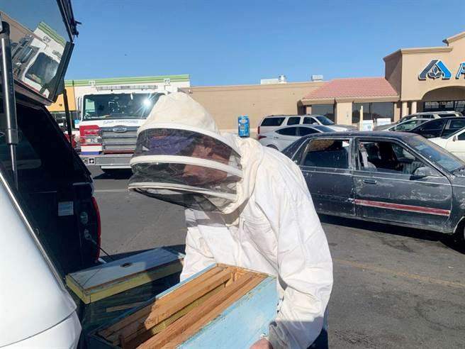 消防员约翰逊(Johnson)和约翰逊(Johnson),也是养蜂人,已全副武装消灭蜂群。  (照片:路透社,拉斯克鲁塞斯消防局)