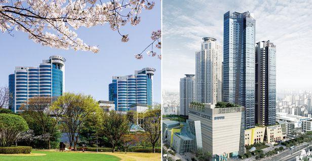 실버타운계 양대 산맥으로 불리는 용인의 '삼성 노블 카운티'(왼쪽)와 서울 광진구에 있는 '더클래식 500'.