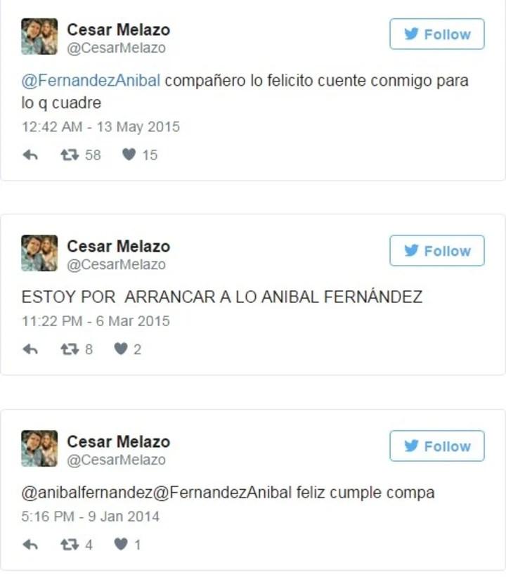 El Twitter del juez Melazo y su apoyo a Fernández. (Captura)