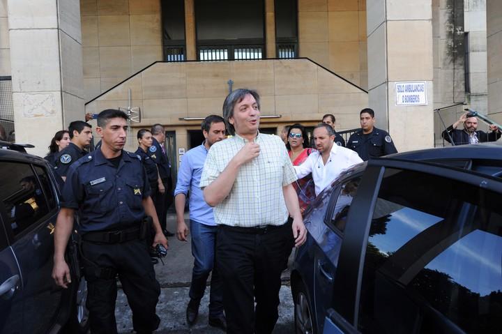 Máximo Kirchner luego de declarar en el caso Los Sauces, por el que acaba de ser enviado a juicio oral.