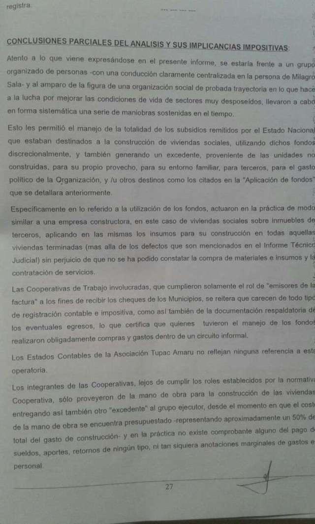 La AFIP investiga a Milagro Sala por una presunta evasión de $177 millones