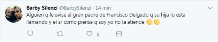 Barby Silenzi acusó a Francisco Delgado de ser un mal padre