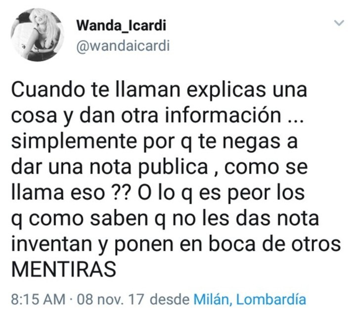 ¡Se hartó! Wanda Nara explotó en Twitter en medio de una fuerte polémica con Mauro Icardi