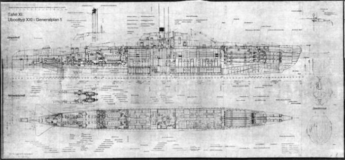 Plano de un submarino Tipo XXI de la Armada nazi (centroeu.com)