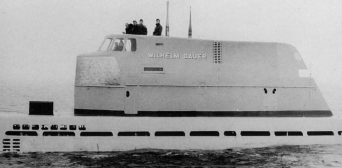 Submarino alemán Wilhelm Bauer, del Tipo XXI, similar al hallado hundido por investigadores del Museo Jutland