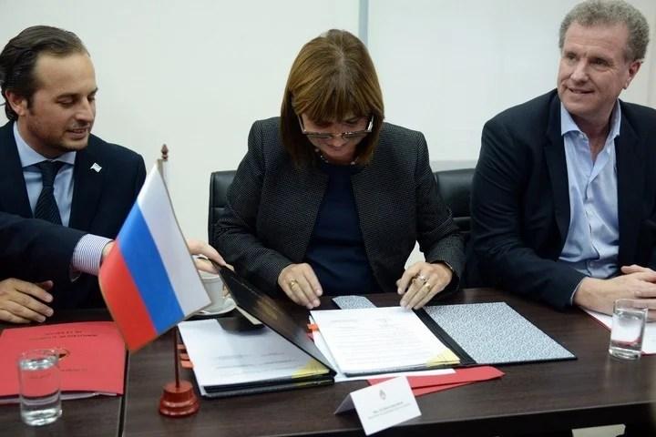 Firma del acuerdo de cooperación Argentina-Rusia.