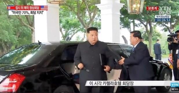 Kim Jong-un llega al hotel Capella de Singapur para reunirse con Donald Trump.