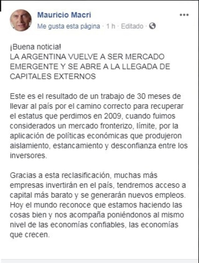 Macri festejó en las redes la vuelta de Argentina como mercado emergente.