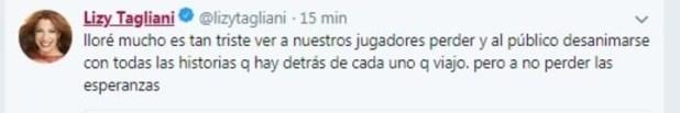 Lizy Tagliani y su llanto tras el partido de Argentina y Croacia.