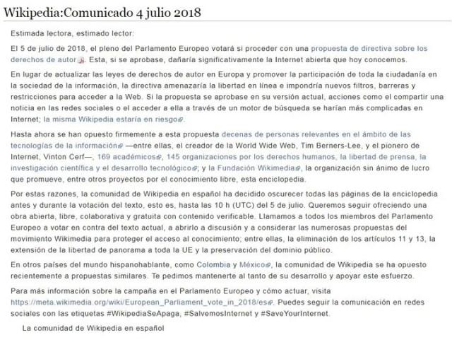 """El comunicado que Wikipedia """"colgó"""" en su sitio como protesta."""