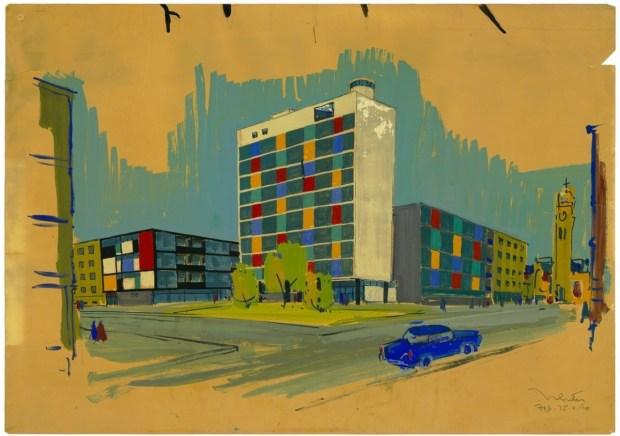 Yugoslavia en el MoMA. Dibujo de Ivan Vitic, en la calle Laginjina en Zagreb, Croacia. Crédito: Ivan Vitic Archive, Academia Croata de Ciencias y Artes