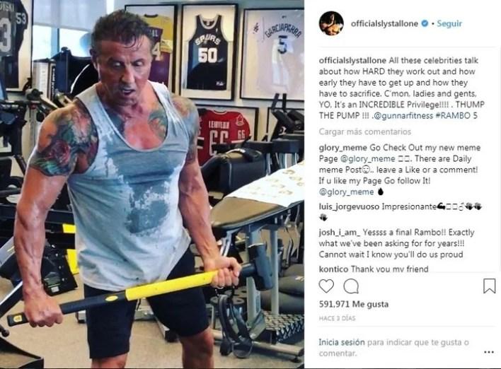 Stallone está entrenando duro para volver a ponerse en la piel de John Rambo.