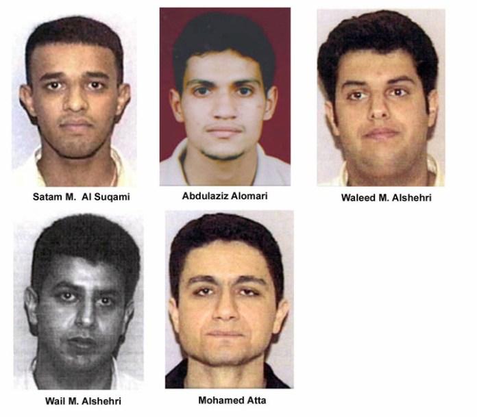 Fotos del FBI con los sospechosos de los atentados del 11 de septiembre.