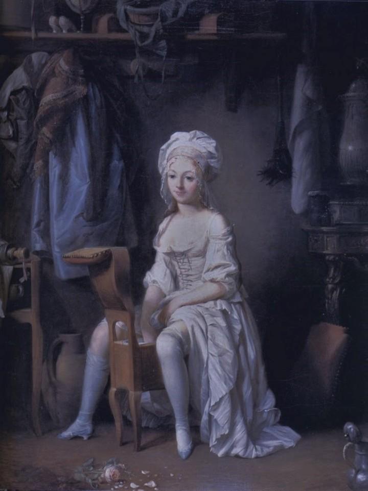 """Cuando apareció, en el siglo XVIII, el bidet era usado por las mujeres de la nobleza para higienizar sus partes íntimas. Por eso lo llamaban """"el confidente de las damas"""". La imagen corresponde a una pintura de Louis-Léopold Boilly (1761-1845)."""