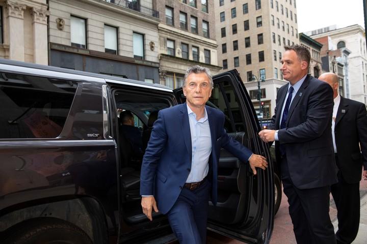 El presidente Mauricio Macri, acompañado por la primera dama, Juliana Awada, arribó esta mañana a Nueva York, donde hablará ante la asamblea general de las Naciones Unidas. (Foto: Adriana Groisman)