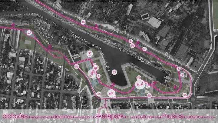 Los distintos sectores que tendrá el parque público del Puerto de San Isidro, en los gráficos que acompañan el anteproyecto de obras. (Fuente: Municipalidad de San Isidro)