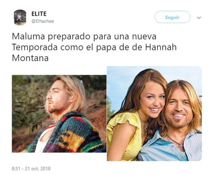 Maluma y su parecido a un personaje de Hannah Montana. (Twitter)