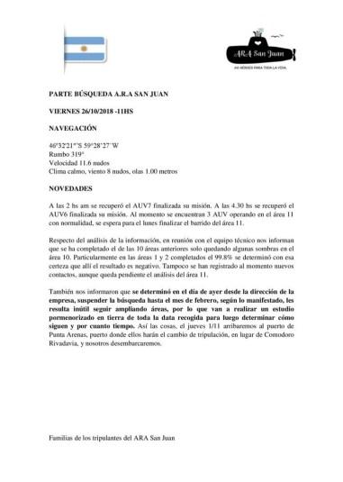 El comunicado de los familiares dando a conocer la suspensión hasta febrero de la búsqueda del ARA San Juan.