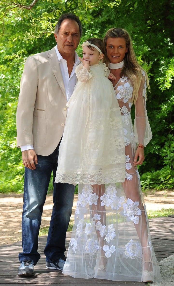 Scioli y Berger en octubre pasado, en el bautismo de su hija Francesca.
