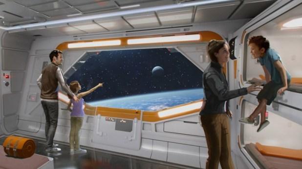 """En Disney World en Florida, un hotel inmersivo en """"Star Wars"""" simulará la experiencia de estar en una nave interestelar. Foto: Disney/LucasFilms."""